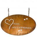 Metall Tafel Herzlich Willkommen, L45cm, rost, mit